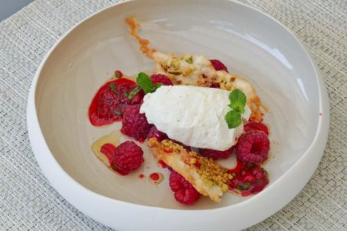 Framboises et Burrata en version glacée