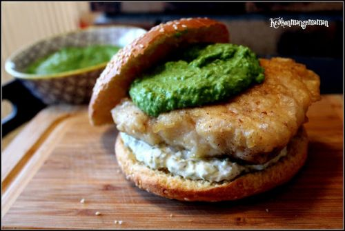 Burger fish and mashed peas