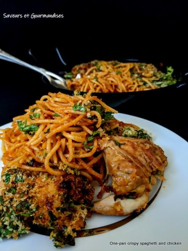 One-pan crispy spaghetti and chicken. Spaghettis et Poulet croustillants