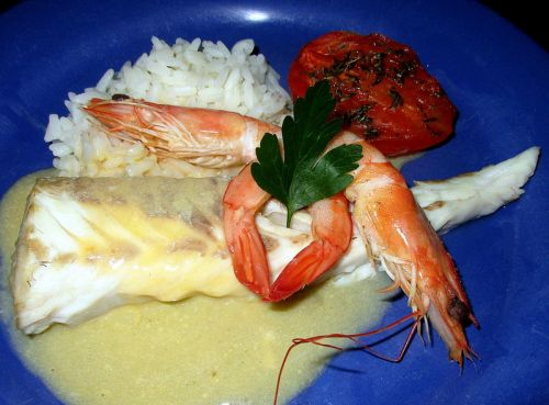 Filet de Colin et Gambas sauce Hollandaise